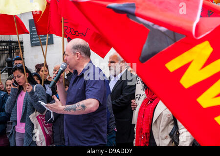 London, UK. 16th June, 2013. Turks protest in London after night of violence Turkey. Credit:  Paul Davey/Alamy Live - Stock Photo