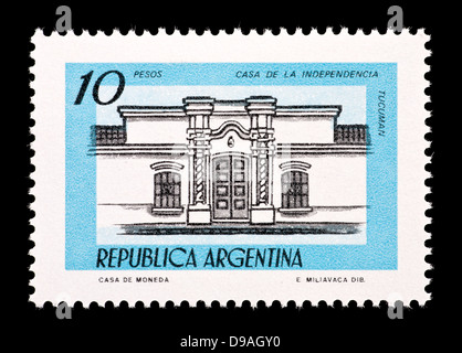 Postage stamp from Argentina depicting Independence Hall, Tucuman. - Stock Photo