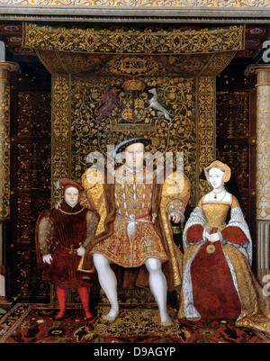 King Henry VIII with his family, Prince Edward and Jane Seymour - Stock Photo