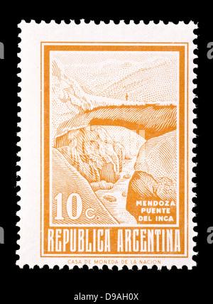 Postage stamp from Argentina depicting Inca Bridge, Mendoza. - Stock Photo