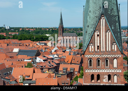 View from Water tower, Luneburg, Lower Saxony, Germany, Lueneburg, church St. Johannis , Blick vom Wasserturm, Lueneburg, - Stock Photo