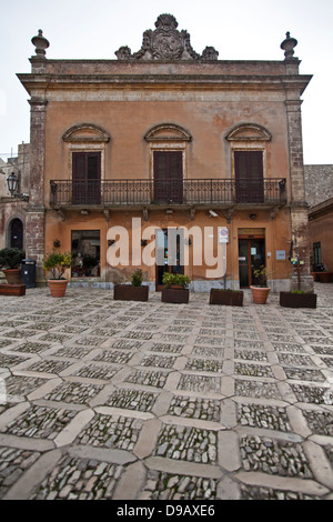 The Main Square of Piazza Umberto I in Erice, Sicily. - Stock Photo