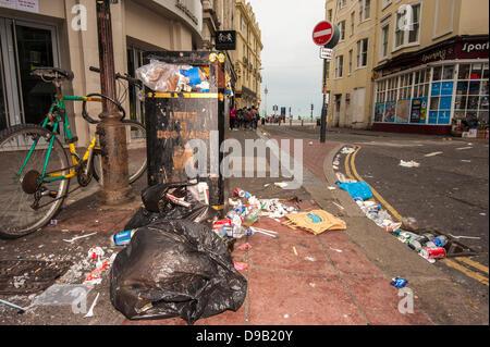 Brighton, UK. 17th June, 2013. Sin Bin City -Rubbish strewn East Street in Brighton.  The city's cleaners are on - Stock Photo