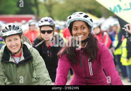 Cycletta  all women charity bike ride in Cheshire - Stock Photo