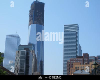 One World Trade Center under construction, Lower Manhattan, NY - Stock Photo