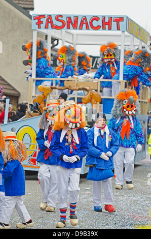 Europe, Germany, Weil am Rhein, Fasnact spring carnival parade - Stock Photo