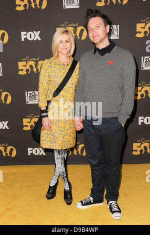 Mark Hoppus (Blink 182) and wife, The Simpsons 500th Episode Celebration at The Hollywood Roosevelt Hotel, Hollywood - Stock Photo