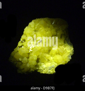Sulphur crystals - Sulphur often forms around hot springs, volcanoes and vents where hot sulphur-rich gases are - Stock Photo