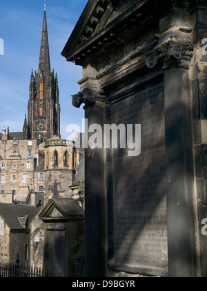 Highland Tollbooth, St John's Church from Greyfriars Churchyard - Stock Photo