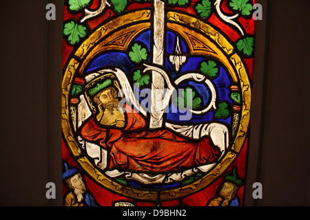 Tree of Jesse Window:  The Reclining Jesse, King David and Scenes from the Life of Jesus.  Pot-metal glass, vitreous - Stock Photo
