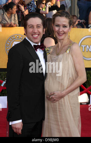Simon Helberg and wife, Jocelyn Towne The 18th Annual Screen Actors Guild Awards held at the Shrine Auditorium  - Stock Photo