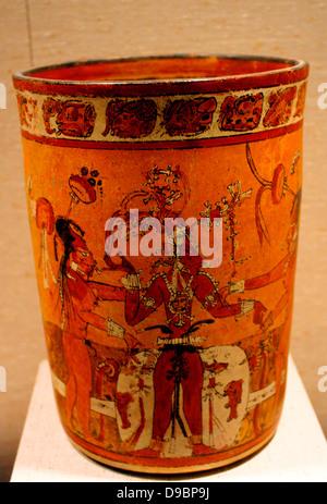 Vessel with young corn god.  Guatemala  Maya.  8th-9th century.  Ceramic. - Stock Photo