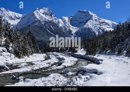 Austria, Tyrol, View of Rissbach Valley with Bettlerkar-Spitze - Stock Photo