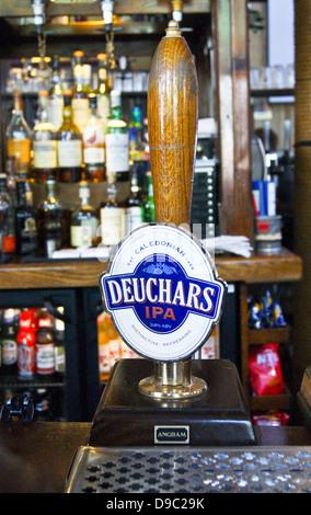 Deuchars IPA by Caledonian handpump in a pub - Stock Photo