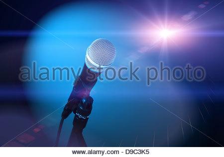 microphone starlight - Stock Photo