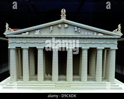Reconstruction of the west pediment of the Parthenon according to a drawing by K. Schwerzek (1896), Acropolis museum, - Stock Photo