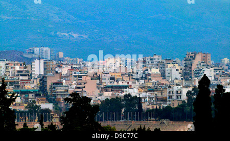 View to the Olympic stadium on an overcast stormy day, Athens, Greece - Stock Photo