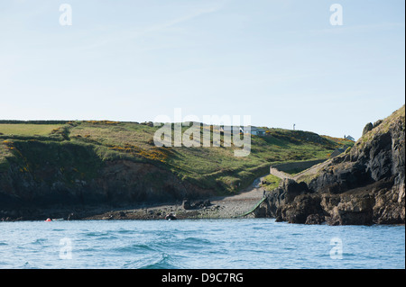 Lockley Lodge and landing for Skomer at Martin's Haven, near Marloes, South Pembrokeshire, Wales, United Kingdom - Stock Photo