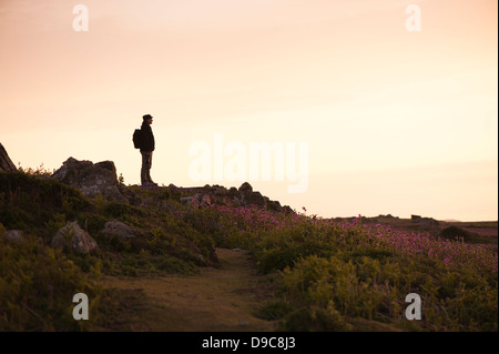 Silhouetted man at dusk on the island of Skomer in spring, South Pembrokeshire, Wales, United Kingdom - Stock Photo