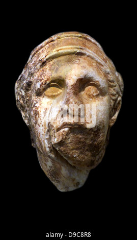 Marble head of a warrior found in the temple of Athena Alea at Tegea, Arkadia.  Possibly from the west pediment - Stock Photo