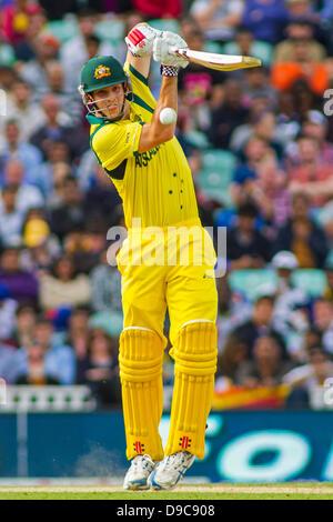 London, UK. 17th June, 2013. Australia's Mitchell Marsh during the ICC Champions Trophy international cricket match - Stock Photo