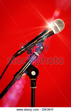 stage star microphone - Stock Photo