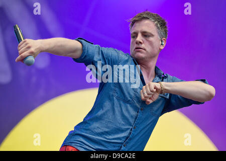 The member of the German hip-hop band 'Fettes Brot', Martin Vandreier, alias Doc Renz, perform on stage at the  - Stock Photo