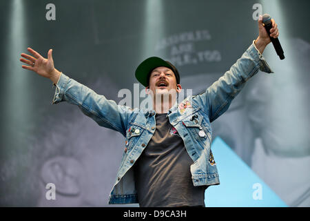 The member of the German hip-hop band 'Fettes Brot', Bjoern Warns, alias Schiffmeister, performs on stage at the - Stock Photo