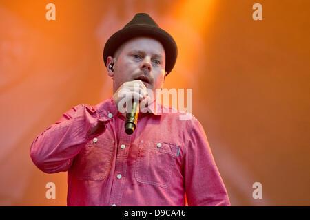 The member of the German hip-hop band 'Fettes Brot', Boris Lauterbach, alias Koenig Boris, perform on stage at the - Stock Photo