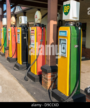 Devon, England. June 6th 2013. Old petrol pumps at a petrol gas station in rural East Devon. Gas  and  diesel pumps. - Stock Photo