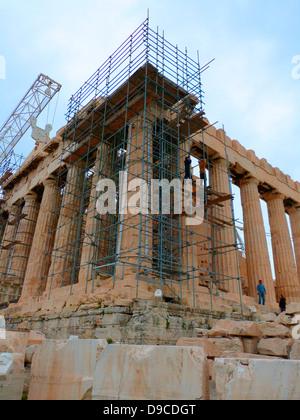 The Parthenon temple on the Athenian Acropolis, Greece, dedicated to the Greek goddess Athena, whom the people of - Stock Photo