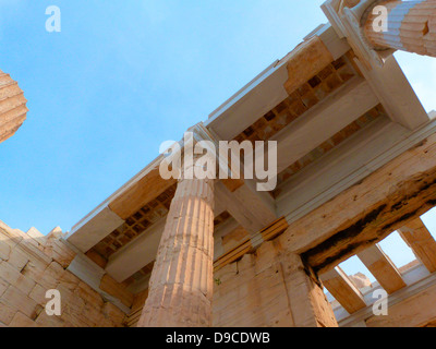 The monumental gateway to the Acropolis, the Propylaea was built under the general direction of the Athenian leader - Stock Photo