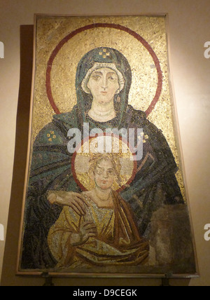 Enthroned Virgin and Child. Replica of the Apse Mosaic from the church of Hagia Sophia at Constantinople, 867AD. - Stock Photo