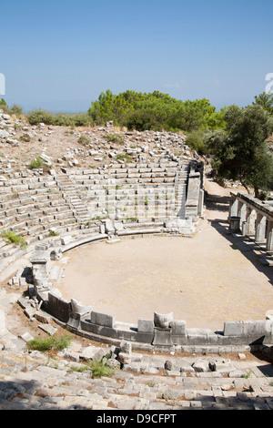 asia, turkey, southern aegean coast, priene, archeological area, theatre - Stock Photo
