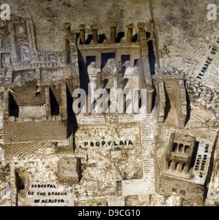 Model of the Acropolis ruins in Athens, Greece made circa 1960 at the University of Birmingham. Shows the Propylaea - Stock Photo