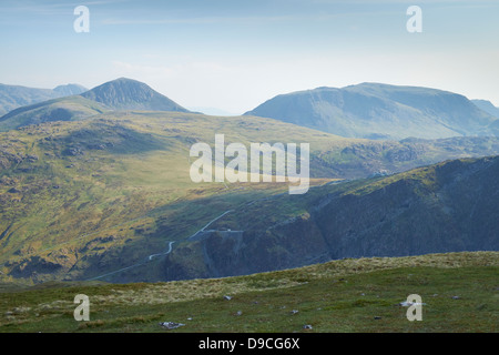 Looking over towards Grey Knotts, Fleetwith, Great Gable and Kirk Fell from the summit of Robinson in Buttermere, - Stock Photo