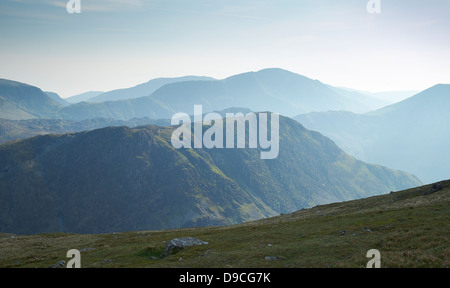 Looking over towards Fleetwith Pike from below the summit of Dale Head in Buttermere, Lake District. - Stock Photo