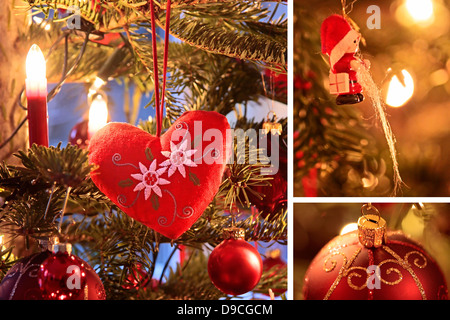 Collage of three Christmas designs with heart and Christmas balls - Stock Photo