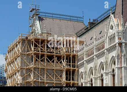 Hungarian Parliament House Budapest Hungary detail - Stock Photo