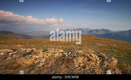 Views towards Great Gable, Fleetwith Pike and Kirk Fell from the summit of Robinson in Buttermere at Sunset, Lake - Stock Photo