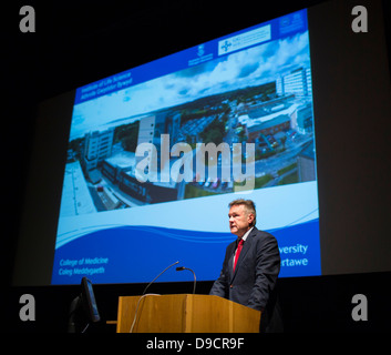 Professor Keith Lloyd, Dean of the College of Medicine at Swansea University, speaking at the CIPHER launch. - Stock Photo