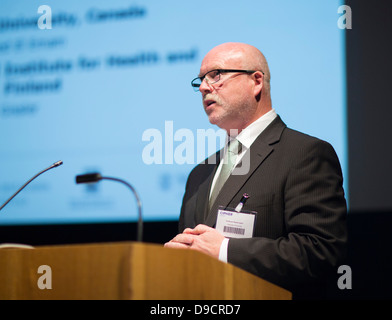 speaking at the CIPHER launch at Swansea University. - Stock Photo