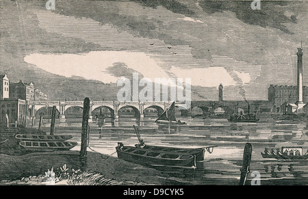 Waterloo Bridge across the Thames, London. Built by John Rennie (1761-1821) Scottish civil engineer, 1811 to 1817. - Stock Photo
