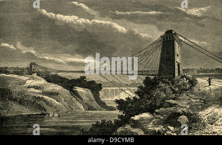 Suspension bridge over the Niagara River connecting  New York Central Railroad and Great Western Railway of Canada, - Stock Photo