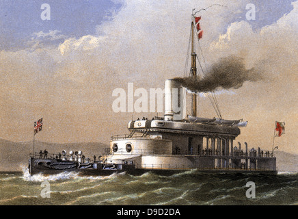 HMS Glatton Royal Navy breastwork monitor vessel, designed by Sir Charles Reed, Director of Naval Construction 1863 - Stock Photo