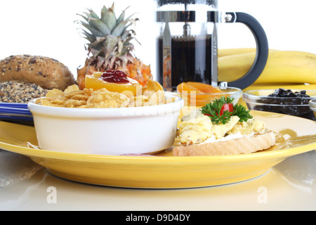 Cornflakes and toast with egg - Stock Photo