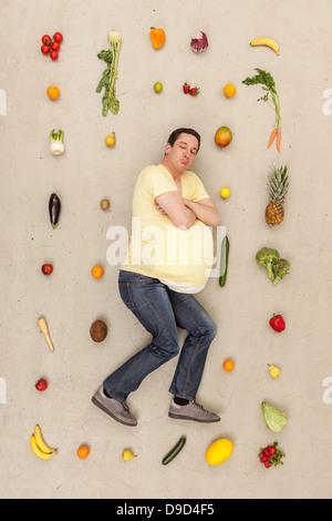 Man dreaming of food - Stock Photo