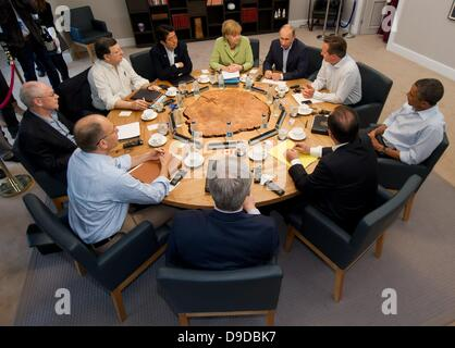 Enniskillen, Northern Ireland / Great Britain. 18th June, 2013. Participants in the G8 summit, German Chancellor - Stock Photo