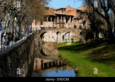 River,  Meder, Bridge, Old, Ancient, Queralt, Romanesque, adoberies,  Vic, Osona,  Barcelona, Catalonia, Spain, - Stock Photo