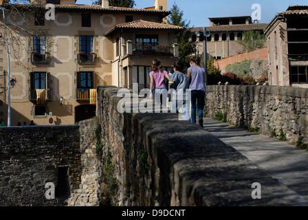 Women, Meder, Bridge, Old, Ancient, Queralt, Romanesque, adoberies,  Vic, Osona,  Barcelona, Catalonia, Spain, Europe - Stock Photo